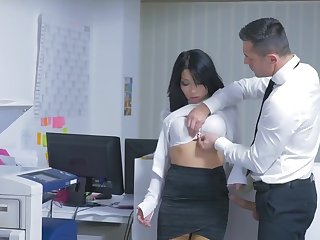 Quickie fucking on the office table with secretary Rina Ellis