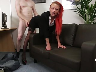 Redhead secretary Billie Rai gets fucked everlasting from behind - CFNM
