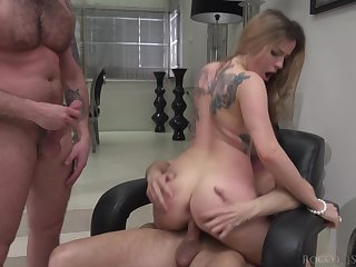 Inked elegant MILF Marica Chanel pounded and cum doused by two guys