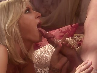 Hungry MILF nympho Brooke Banner devours cock before riding it