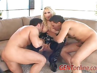 Candy Manson double penetrated and cum covered in heels and leather