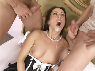 Mandy Saxo gets saturated with cum in a hardcore MMF threesome