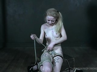 Sweet blonde chick Alice gets tied up apart from a naughty mistress
