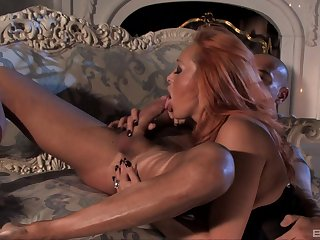 Mature redhead MILF Antonella Del Lago sprayed with cum