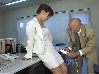 Redhead Japanese MILF secretary gets her pussy toyed with in an office