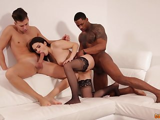 Sexy hot and emotional Valentina Nappi gets analfucked by two studs