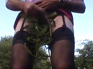 Bringing off in public woods pain and cum