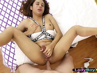 Verecund and cute asian ladyboy barebacked hard POV music pretension