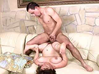 Saleable lad gets to fuck a female midget in the air both her fat holes