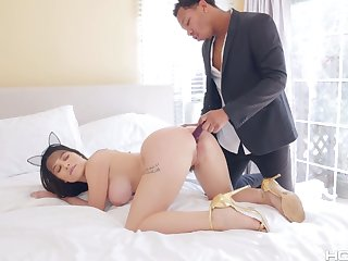 BBC bangs anal hole for super juicy namby-pamby babe with big ass Lana Rhoades