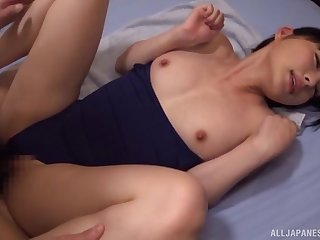 Nude Japanese beauty missionary fucked and jizzed on tits