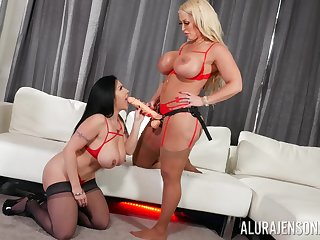 Hot milfs plot be transferred to strap-on in seductive lesbian play