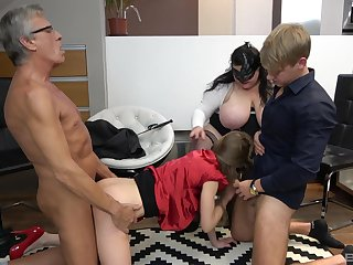 Old man and his BBW wife, cock deployment foursome with young buckle