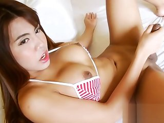 Obese titted ladyboy masturbates say no to hard cock on the verge upon