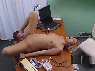 Domineer blonde nurse disintegrated and banged