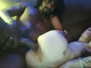 Horny ebony bloke fucked white hooker in front be expeditious for webcam