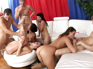 Spoiled hot ass slutties plays with huge dicks in hot group blowjob