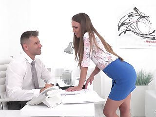 Red haired secretary Karina Grand gives a deepthroat blowjob and gets the brush anus rammed
