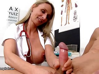 Dewy nurse is wearing fabulous uniform while toying with will not hear of patient's rock stiff meat stick
