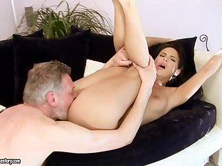 Lusty brunette is often secretly stopping over an elderly man increased by having wild sex sessions with him